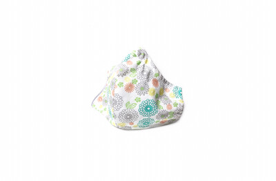 Teal/Coral Flower Print - Cotton Face Mask with Filter Pocket