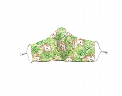 Sloth on Green - Cotton Face Mask with Filter Pocket