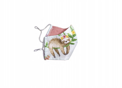 Sloth Mommy & Baby - Cotton Face Mask with Filter Pocket