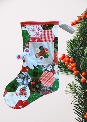 Hexi Quilted Christmas Stocking With Pocket And Stuffed Mouse