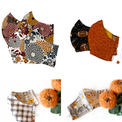 Fall Themed Facemasks - Cotton Face Mask with Filter Pocket