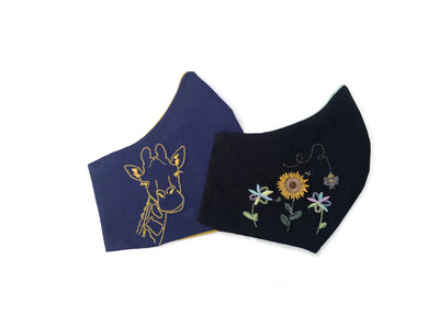 Embroidered Collection (Multiple Prints To Choose From!)  - Cotton Face Mask with Filter Pocket
