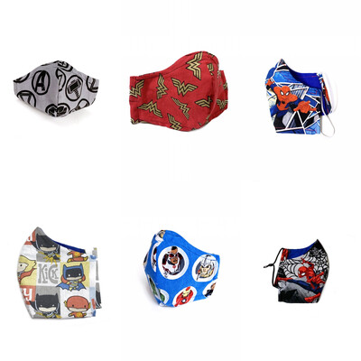 Super Hero Themed  (Multiple Prints To Choose From!) - Cotton Face Mask with Filter Pocket torn