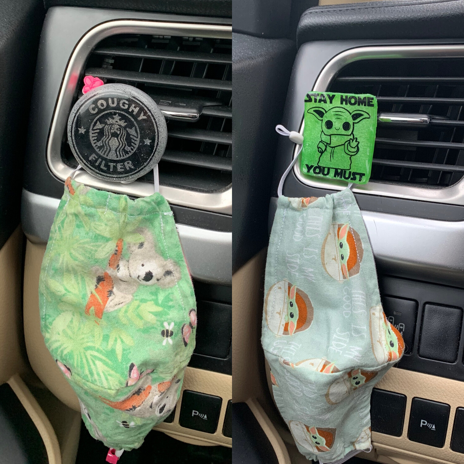 Car Vent Mask Holder With Optional Attachment For Aromatherapy