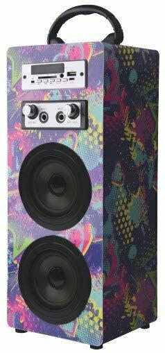 Volkano Carnival Series Wrapped AUX Tower Speaker Twin Multicolour wrap