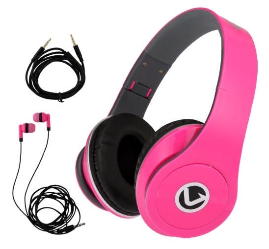 Dual Neo Series Headphone and Earphone Combo Neon Pink