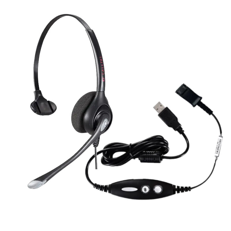 Calltel HW351N Mono-Ear Noise-Cancelling Headset - Quick Disconnect Connector + Calltel Quick Disconnect - USB Sound Card Adapter Cable