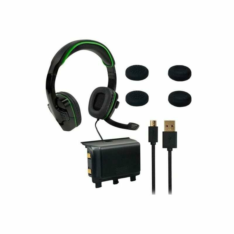 SPARKFOX Xbox-One Headset,High-Capacity Battery,3m Braided Cable,Thumb Grip Core Gamer Combo