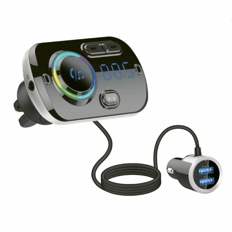 GIZZU Bluetooth 5.0 Wired Hands Free Kit BC49BQ with FM Transmitter RGB LED interface 1 x Music USB Port,1 x QC3.0 Port,1 x Micro SD Slot (64GB Max)