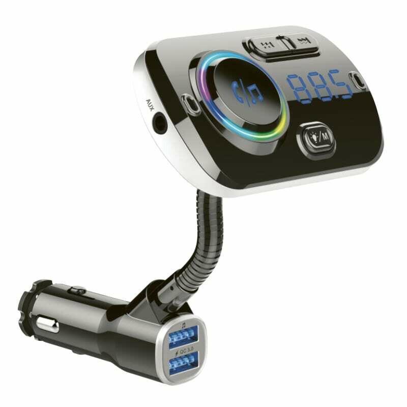 GIZZU Bluetooth 5.0 Gooseneck Hands Free Kit BC49AQ with FM Transmitter RGB LED interface 1 x Music USB Port,1 x QC3.0 Port,1 x MicroSD slot (64GB Max)
