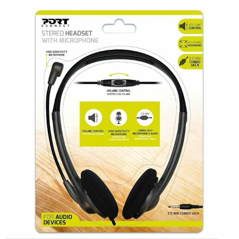 Port Stereo Headset with Mic with 1.2m Cable,1 x 3.5mm,Volume Controller - Black