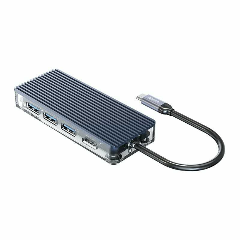 Orico 6 Port 3 x USB3.0,1 x HDMI,1 x TF,1 x SD Transparent Hub - Grey