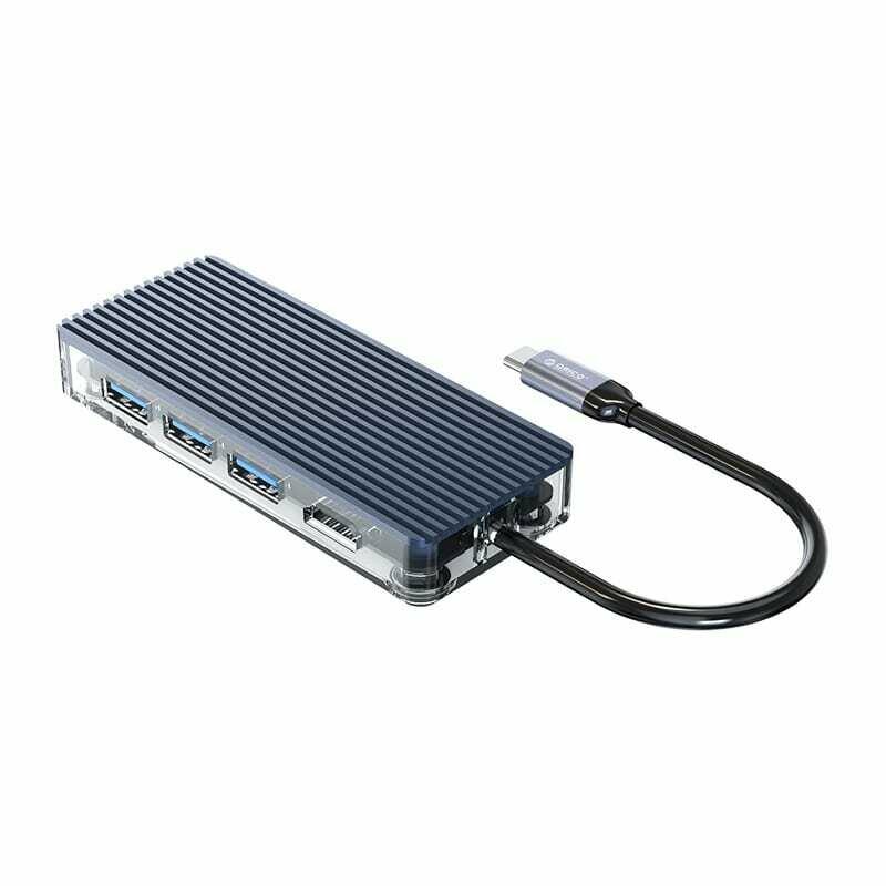 Orico 6 Port 3 x USB3.0,1 x HDMI,1 x RJ45,1 x Type-C Transparent Hub - Grey