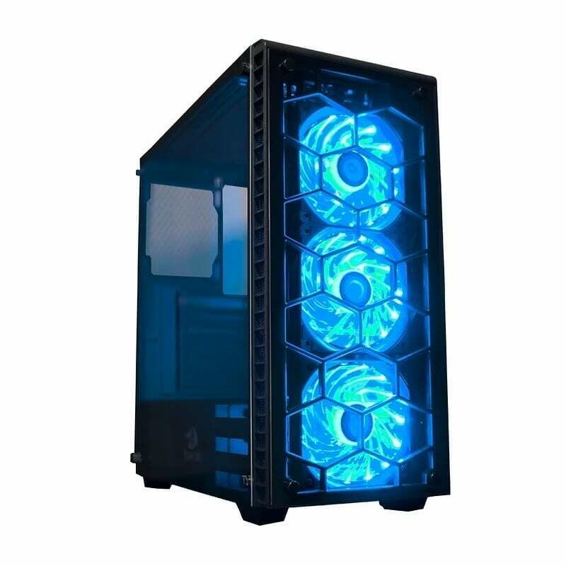 Redragon DAIMONDSTORM Pro Tempered Glass Front/Side,3 x RGB Fan,ATX/Micro ATX - Black