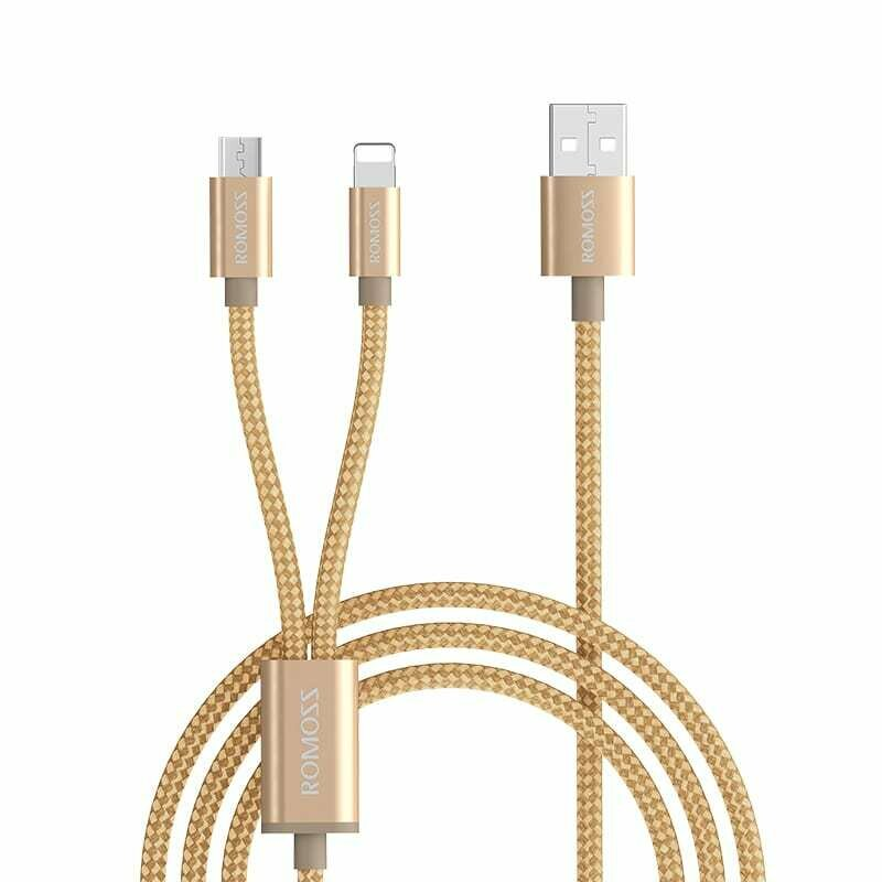 Romoss 2in1 USB to Lightning,Micro USB 1.5m Cable Gold