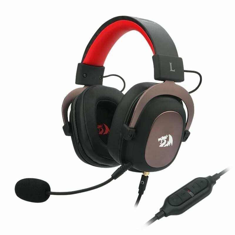 Redragon Zeus USB,Virtual 7.1,2m Cable,3.5mm Detachable Omnidirectional Boom Mic,53mm Driver,Gaming Headset - Black