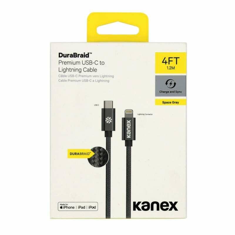 Kanex USB-C to Lightning 1.2m Durabraid Cable Space Grey