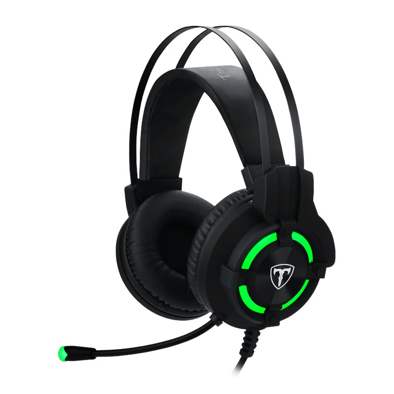 T-Dagger Andes Green Lighting,210cm Cable,USB,Omni-Directional Luminous Gooseneck Mic,40mm Bass Driver,Stereo Gaming Headset - Black/Green