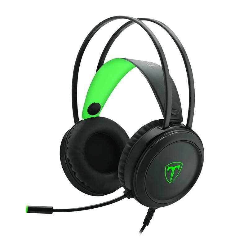 T-Dagger Ural Green Lighting,210cm Cable,3.5mm+USB,Uni-Directional Luminous Gooseneck Mic,50mm Bass Driver,Stereo Gaming Headset - Black/Green