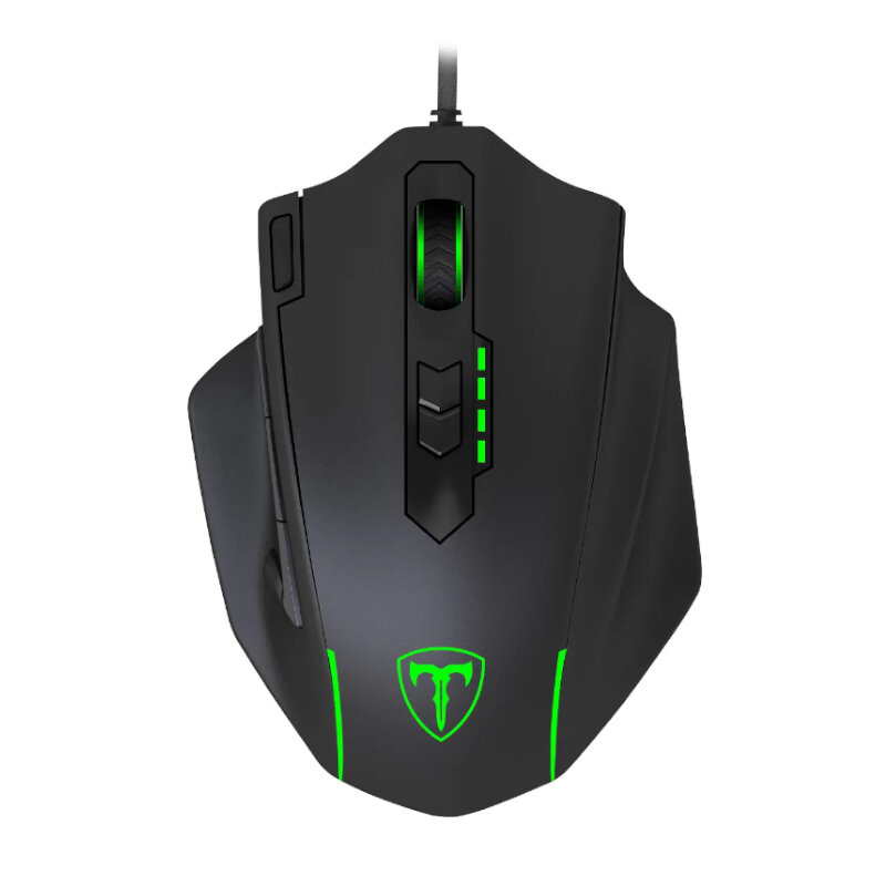 T-Dagger Major 8000DPI 10 Button,180cm Cable,Ergo-Design,RGB Backlit Gaming Mouse - Black/Green