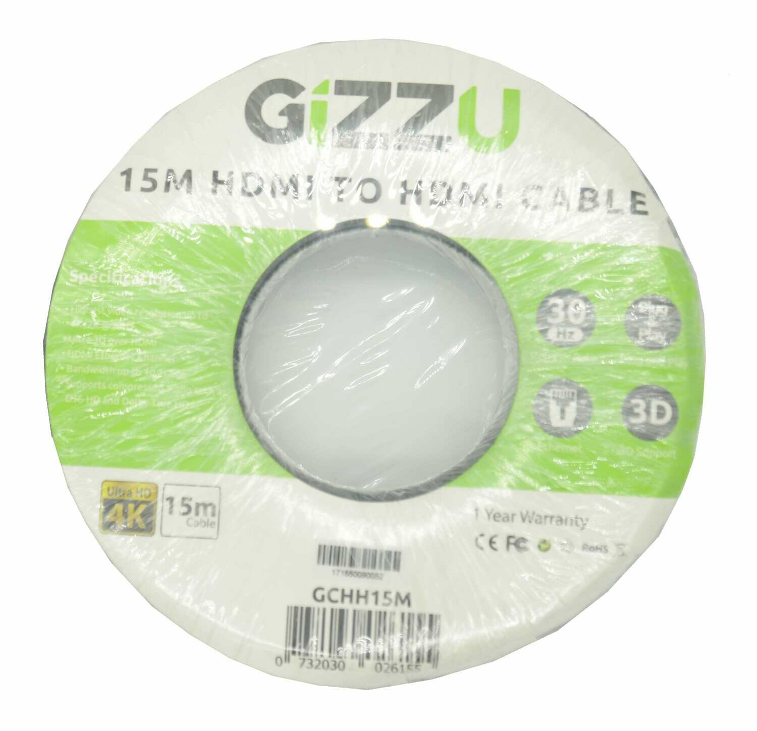 GIZZU High Speed V1.4 HDMI 15m Cable with Ethernet