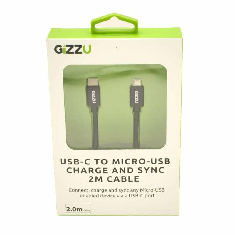 GIZZU USB-C to Micro USB 2m Cable Black