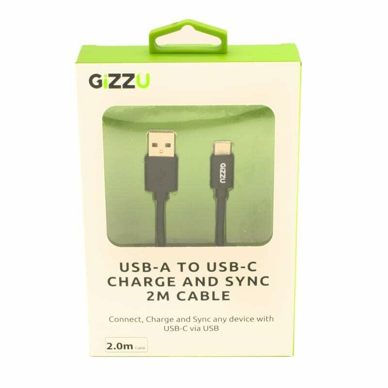 GIZZU USB2.0 A to USB-C 2m Cable Black