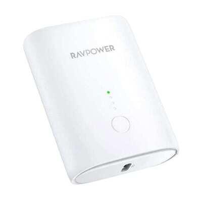 RAVPOWER 10000mAh 1x USB,1x Type-C PD18W/QC3.0 Power Bank - White