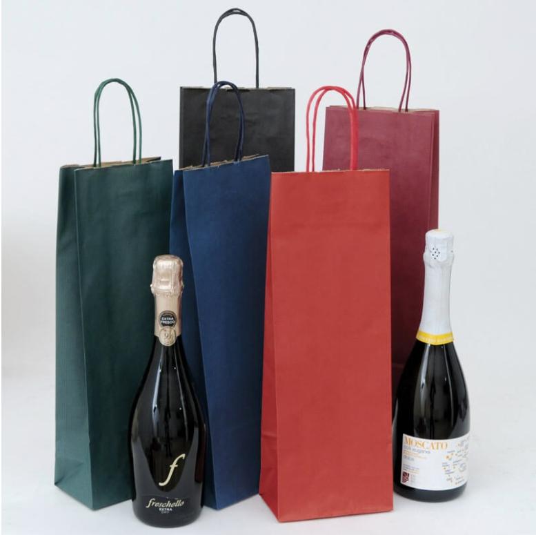 Shopper portabottiglie  avana riciclato - cm 14x8.5x39.5 - 120 gr/mq