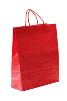 Shopper fondo pieno, kraft bianco, manico ritorto - cm 46x15x31 - 90 gr/mq