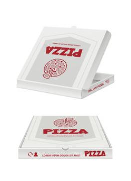 Scatole porta pizza con grafica generica per le tue consegne a domicilio. 40X40X4 - 150 gr.
