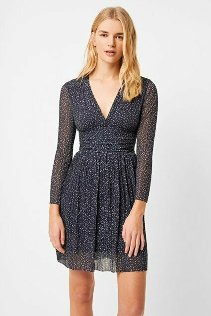 French Connection- Tabia Navy Print Dress