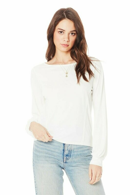 Saltwater Luxe- Long Sleeve White Cuff Top