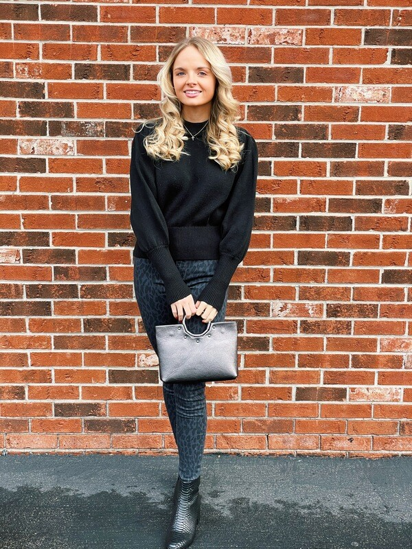 French Connection- Puff Sleeve Black Sweater