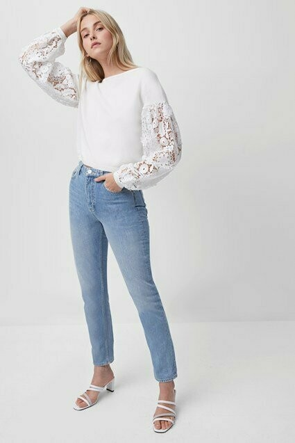 French Connection- Josephine Lace Sleeve Sweater