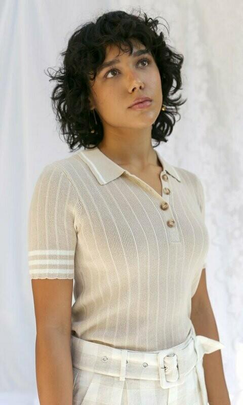 Greylin- Bruna Sweater Knit Collared Top