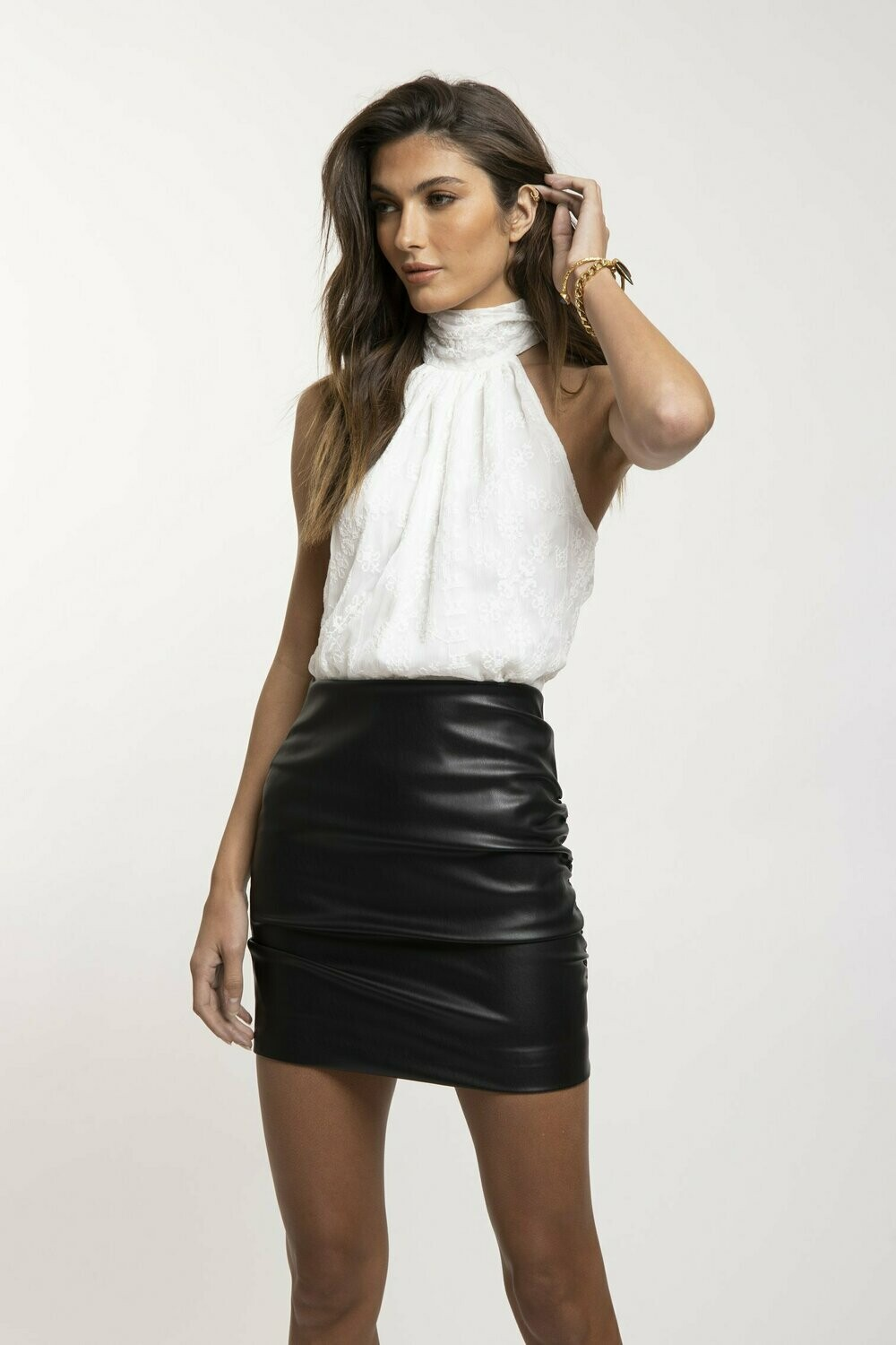 Bishop + Young- Side Ruche Vegan Leather Skirt