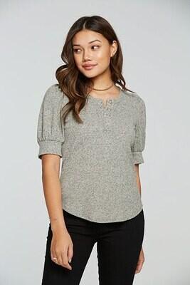 Chaser- Grey Puff Sleeve Henley