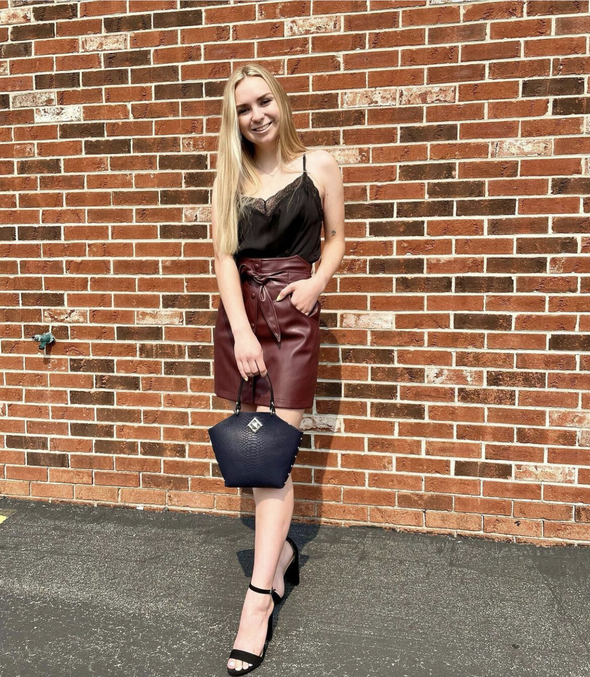 Bishop + Young- Vegan Leather Button Front Skirt
