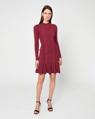 Nicole Miller- Knit Ribbed Flare Mini Dress