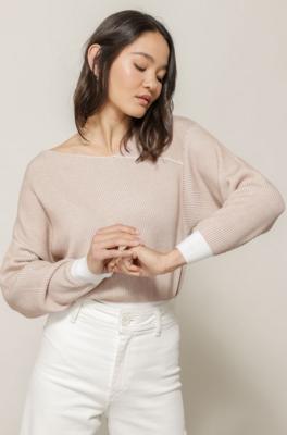 Line + Dot- Favorite Off the Shoulder Contrast Sweater