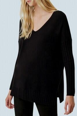 French Connection- Babysoft Rib Sleeve V-Neck Sweater