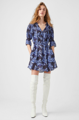 French Connection- Dionne Gathered Neck Dress