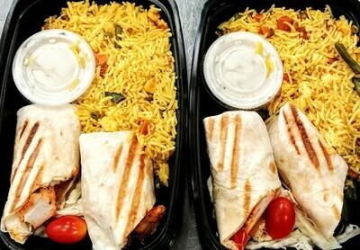 Taste of India - Chicken Tikka Wrap with Vegetable Biryani & Raita
