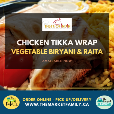 Taste of India - Chicken Tikka Wrap with Vegetable Biryani & Raita