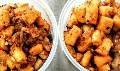 Tofu - Crispy w/ Caramelized Onions & Hash Browns or Rice - by Si Weon (Chilean Cuisine)