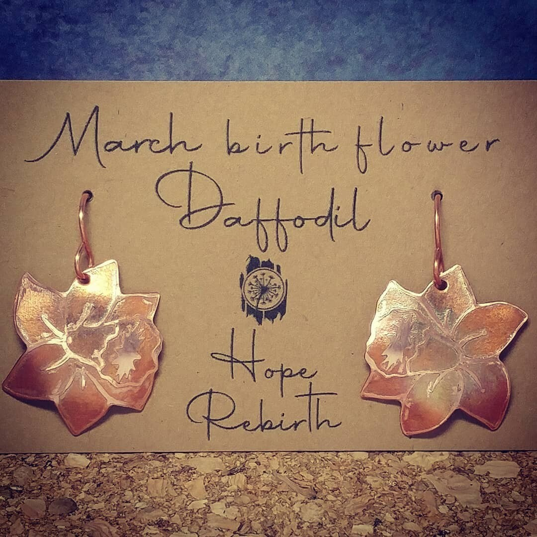 Inspired NL - March Birth Flower (Upcycled copper, electro etched and painted with fire)