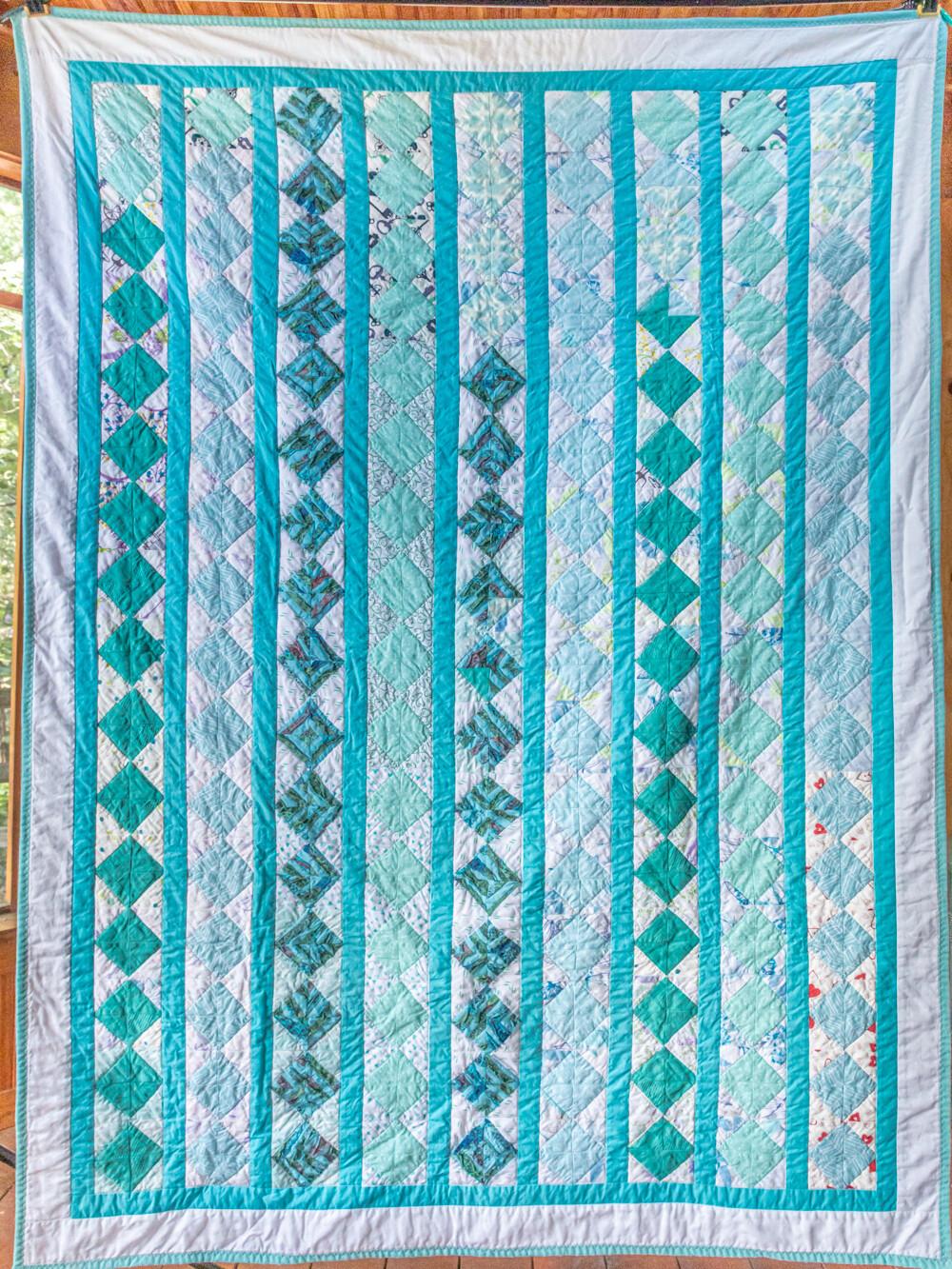 Quilt #14 - Aqua Squares on Point