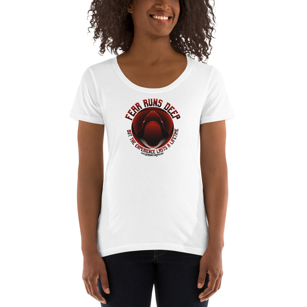 Fear Runs Deep (Red/Black Letters) Ladies' Scoopneck T-Shirt