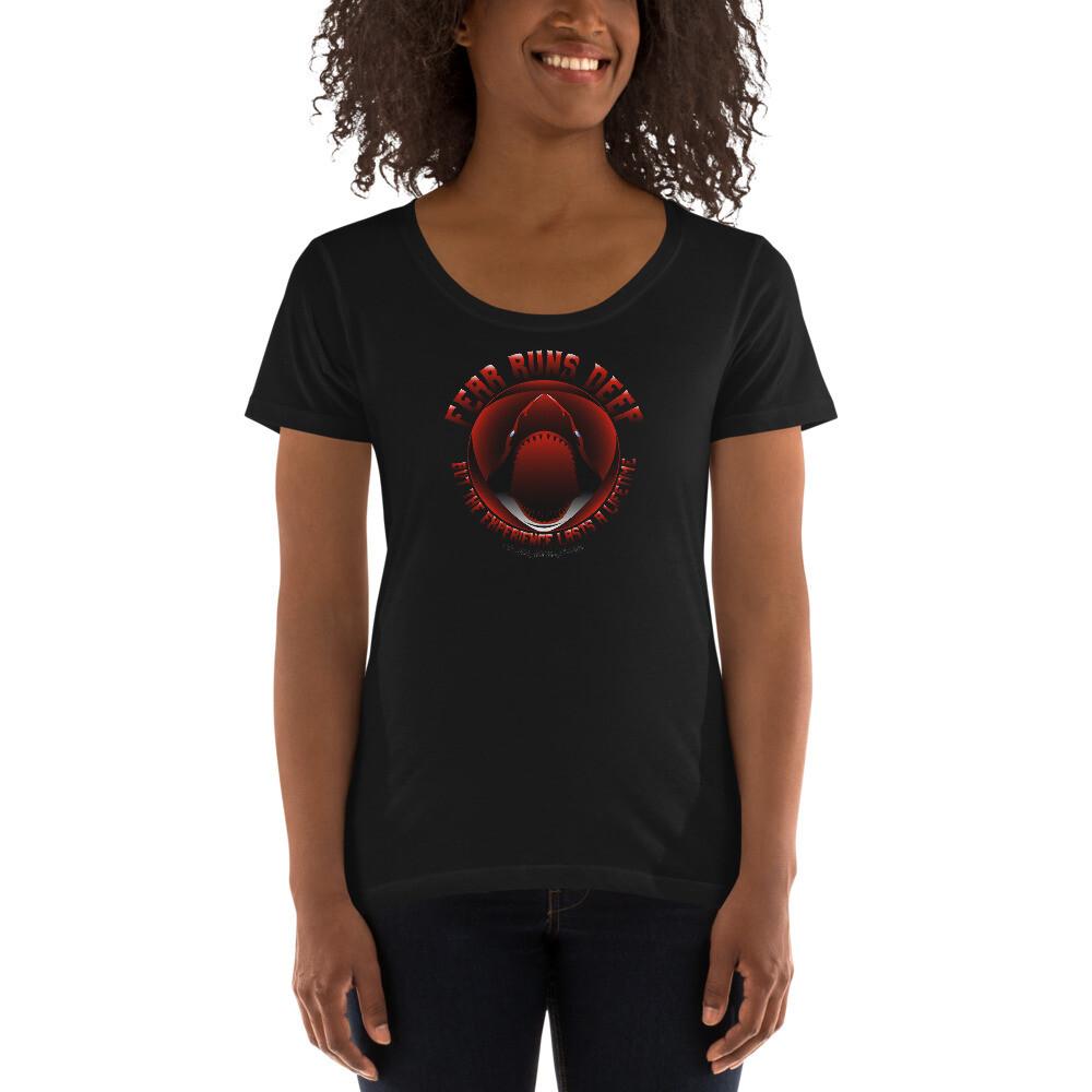 Fear Runs Deep (White/Red/Black Letters) Ladies' Scoopneck T-Shirt